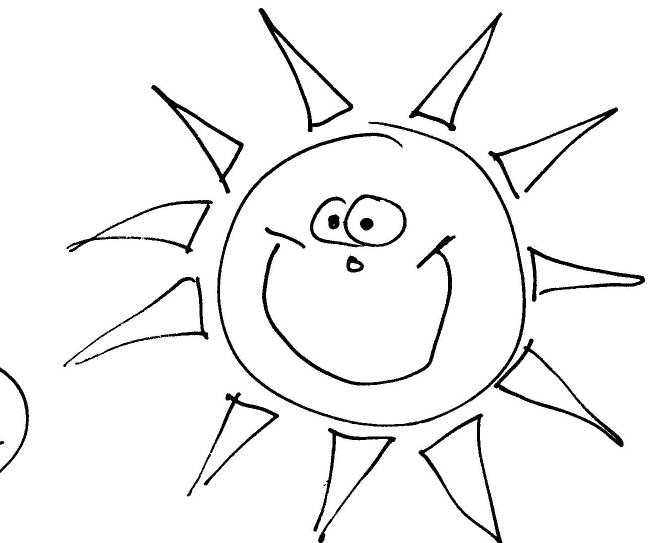 Colouring Picture Sun: Corner sun colouring pages.